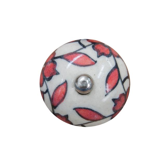 Puxador de Porcelana Floral Vermelho e Branco