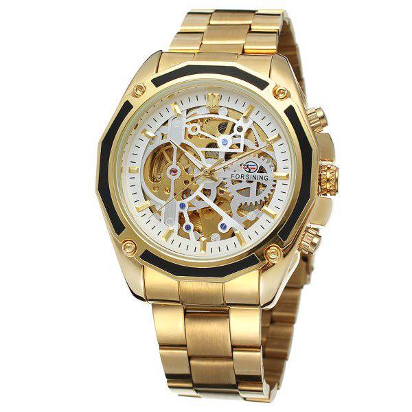 6ab8942a2 Relógio Masculino Forsining Pulseira Aço inoxidável Ouro CX Ouro FD Branco  Esporte Militar Esqueleto Automático ...