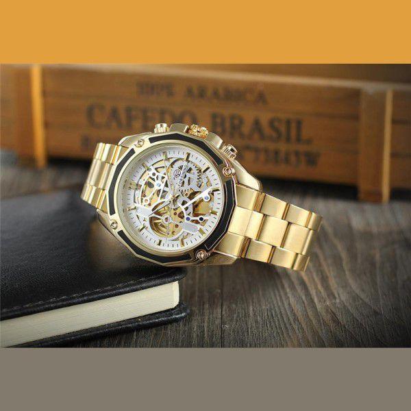 3f30670610c ... Relógio Masculino Forsining Pulseira Aço inoxidável Ouro CX Ouro FD  Branco Esporte Militar Esqueleto Automático ...