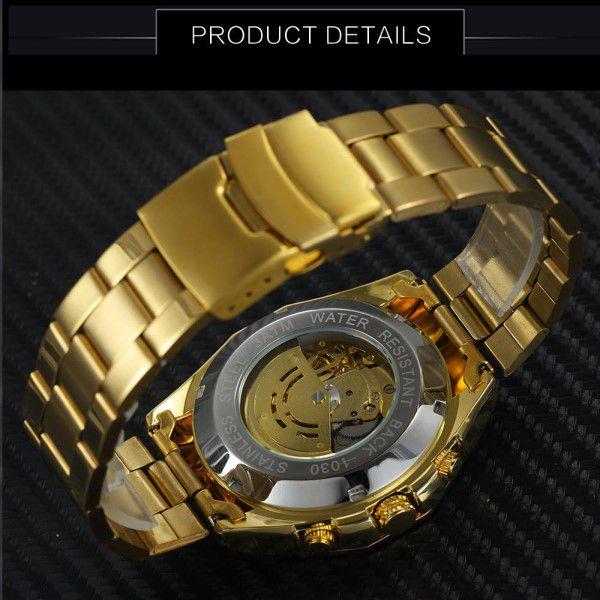 7a2e58a93d1 ... Relógio Masculino Forsining Pulseira Aço inoxidável Ouro CX Ouro FD  Branco Esporte Militar Esqueleto Automático (