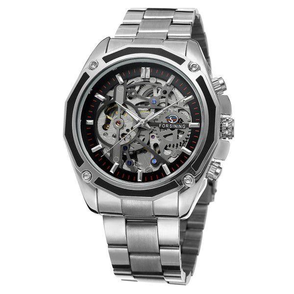 192d75b6398 Relógio Masculino Forsining Pulseira Aço inoxidável Prata CX Prata FD Preto  Esporte Militar Esqueleto Automático (