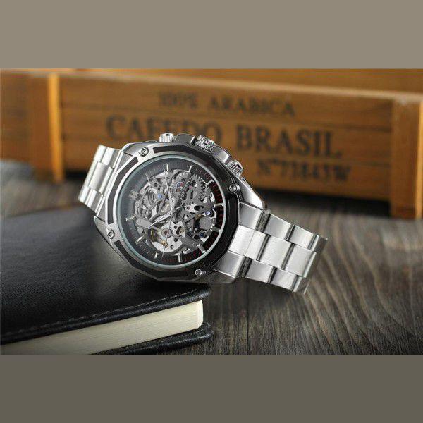 6a09ff02099 ... Relógio Masculino Forsining Pulseira Aço inoxidável Prata CX Prata FD  Preto Esporte Militar Esqueleto Automático ...