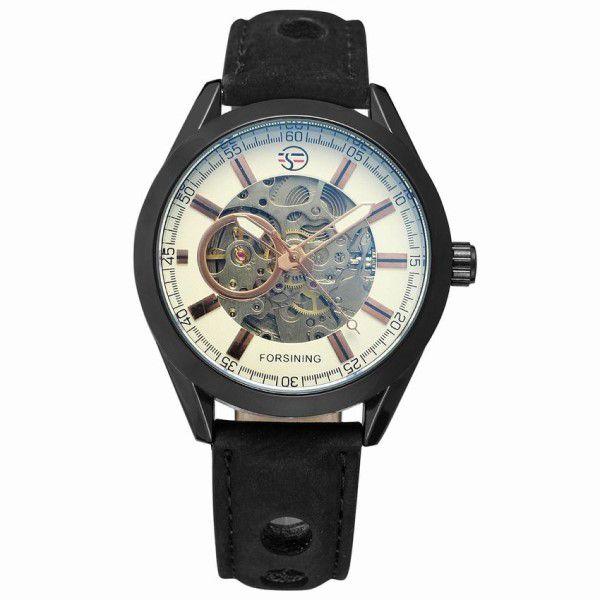cc4766d5b6c Relógio Masculino Forsining Pulseira Couro Preto Caixa Preto Fundo Ouro  Esporte Cowboy Esqueleto Automático (BTO