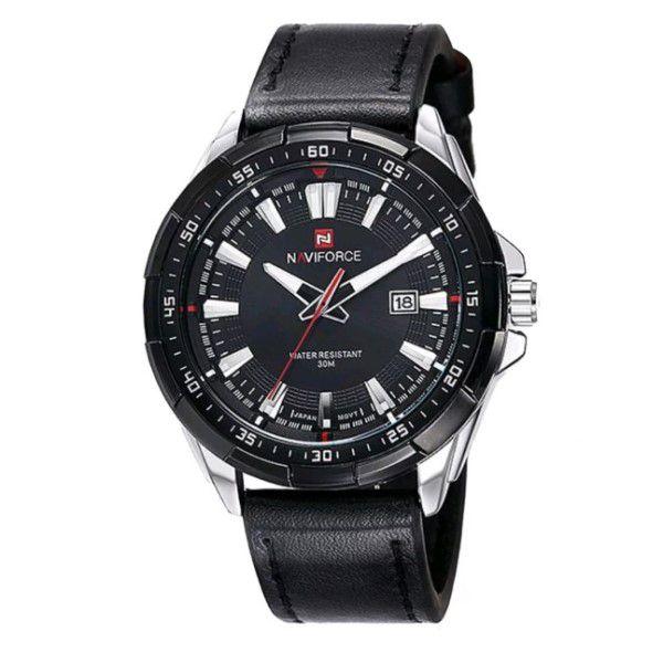 02d05d8c5 Relógio Masculino Naviforce Quartzo Pulseira de Couro Genuíno Preto Caixa  Prata Moda Esporte Militar (BTO ...