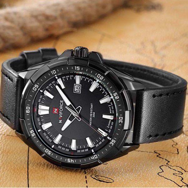 b47e8cb3540 ... Relógio Masculino Naviforce Quartzo Pulseira de Couro Genuíno Preto  Caixa Prata Moda Esporte Militar (BTO ...