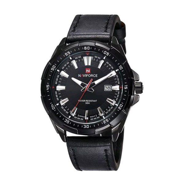0b4175e7faa Relógio Masculino Naviforce Quartzo Pulseira de Couro Genuíno Preto Caixa  Preta Moda Esporte Militar (BTO ...