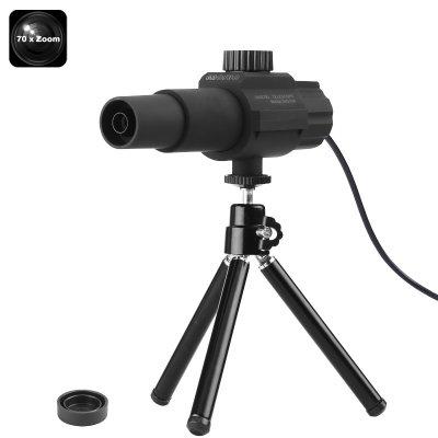 Telescópio Smart Digital Portátil, USB, 70x Zoom, Câmera 2MP, Detecção de Movimento, Ângulo de Visão 2 Polegadas, Tripé, Para Uso Diurno
