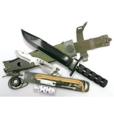 Faca Tática Camping Platoon Nautika C/ Kit Sobrevivênca