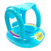 Boia Para Bebê Infantil Com Cobertura Baby Float Azul
