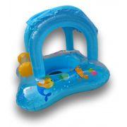Baby Bote Boia Inflável para Crianças Azul com Proteção para o Sol