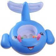 Boia Infantil para Bebê Criança Baleia Divertida Azul