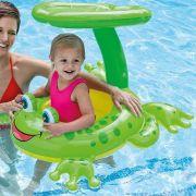 Boia Inflável Infantil Sapinho com Cobertura Proteção Sol