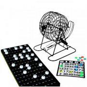 Jogo de Bingo com Globo Giratório Metálico 75 Bolas
