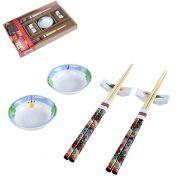 Jogo para Comida Japonesa Oriental 6 Peças Decorada