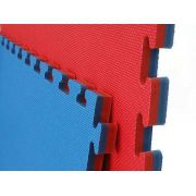 Kit 12 Tatames Tapetes EVA Dupla Face Azul e Vermelho 50x50x3cm