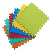 Kit 16 Tapetes Tatames Coloridos EVA 50 x 50 x 1cm 10mm com Borda