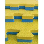 Kit com 4 Tatames Dupla Face Azul com Amarelo 50x50x2cm