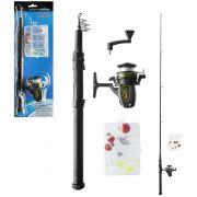 Kit Vara de Pesca Telescópica 1,60m com Molinete e Acessórios