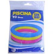 Piscina Infanti Inflável 3 Anéis Coloridos 90 Litros