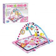 Tapete de Atividades Rosa para Bebês com Arco e Móbiles