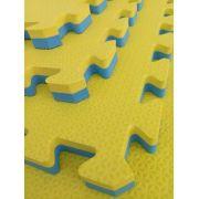 Tatame EVA 50cm x 50cm x 2cm Dupla Face Amarelo com Azul Bicolor