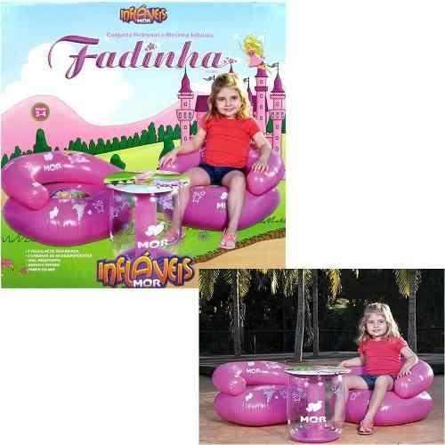 Conjunto 2 Poltronas + Mesinha Inflável Infantil Fadinha