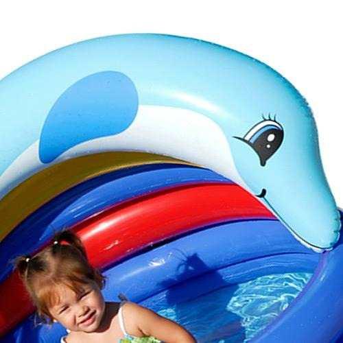 Piscina Golfinho 150 Litros Com Cobertura Proteção Do Sol