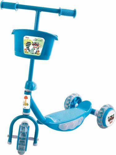 Patinete Para Criança 3 Rodas E Cestinho Azul