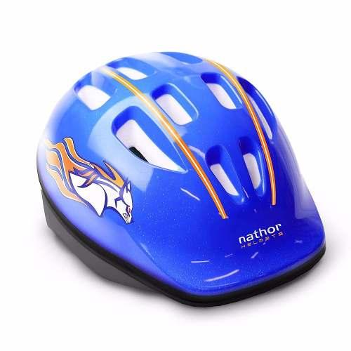 Capacete Infantil Azul Bicicleta Nathor Com Regulagem
