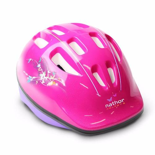 Capacete Infantil Rosa Bicicleta Nathor Com Regulagem