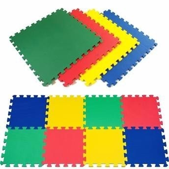 Kit 12 Tapetes Tatames Coloridos Eva 50 X 50 X 1cm 10mm C/ Borda