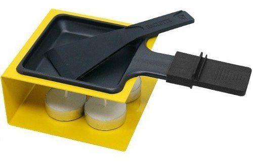 Raclete De Metal Amarelo Com Panela e Fogareiro 100ml
