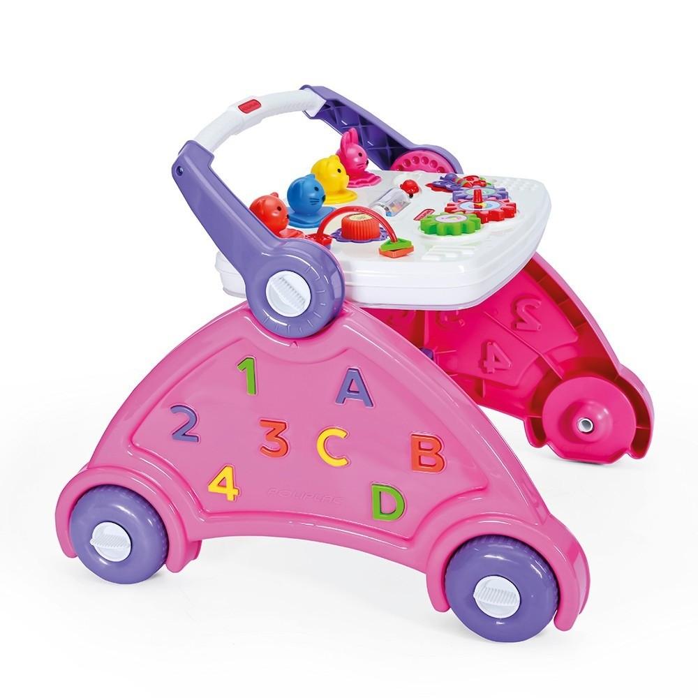 Andador Didático para Bebê Menina Rosa Poliplac