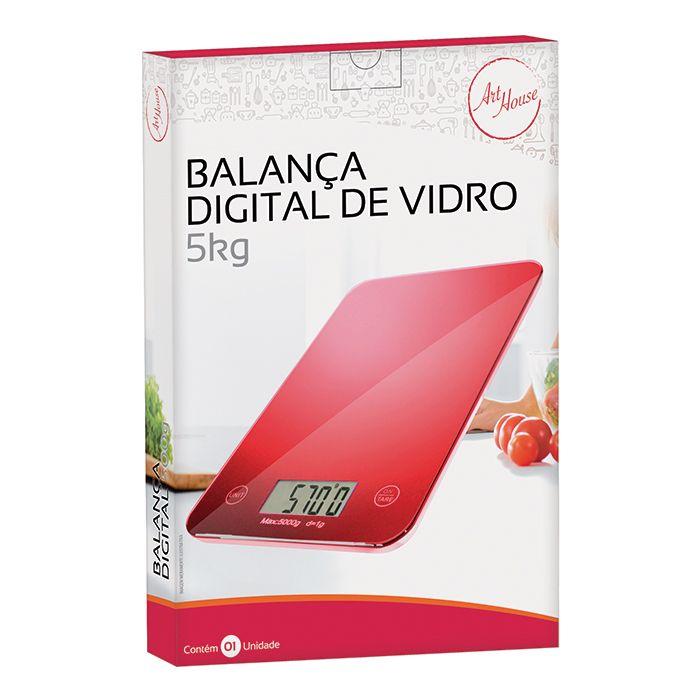 Balança de Cozinha 5Kg Digital em Vidro Color