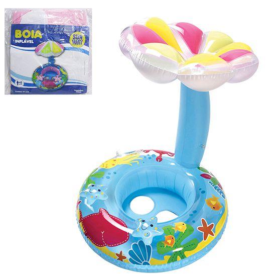 Boia Infantil Inflável com Fralda e Cobertura Cogumelo Colorido