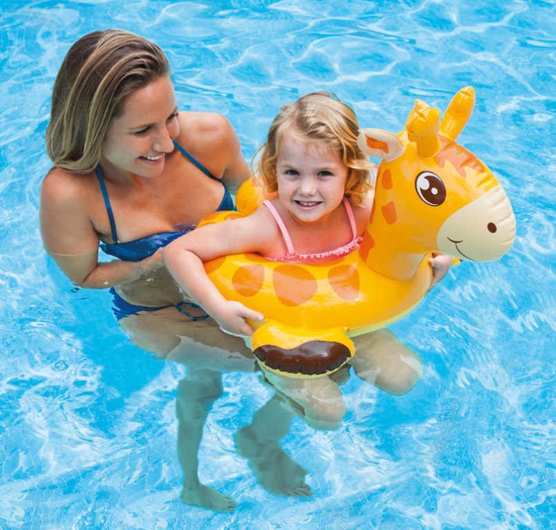 Boia Infantil Inflável para Piscina Cabeça Zôo Girafinha Intex