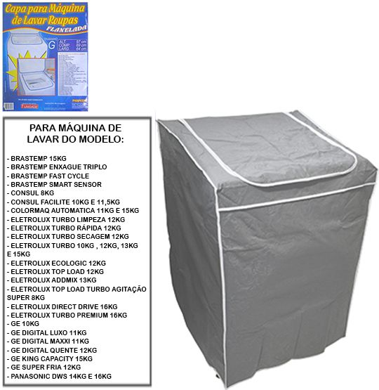Capa para Máquina de Lavar Roupa Flanelada Tam G 97cm x 69cm x 64cm