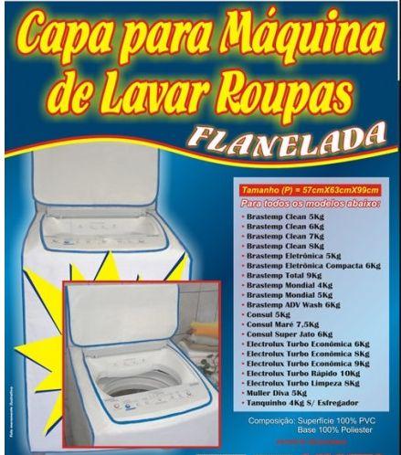 Capa para Máquina de Lavar Roupa Flanelada Tamanho P 97x60x55cm