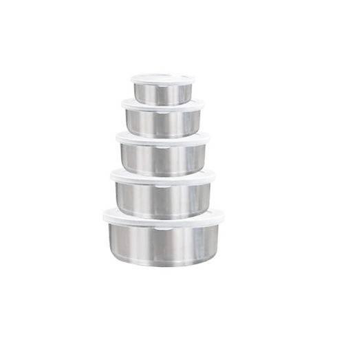 Conjunto de Potes 5 Peças em Inox com Tampa Plástica