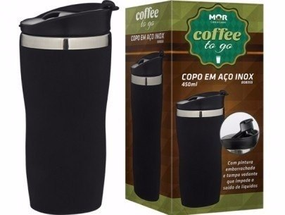 Copo Térmico Aço Inox Emborrachado 450 Ml Coffee To Go Mor