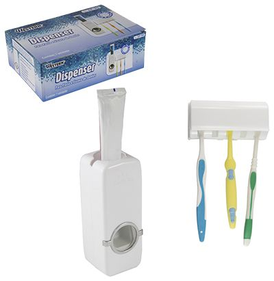 Dispenser Creme Dental Pasta Dente com Porta Escovas