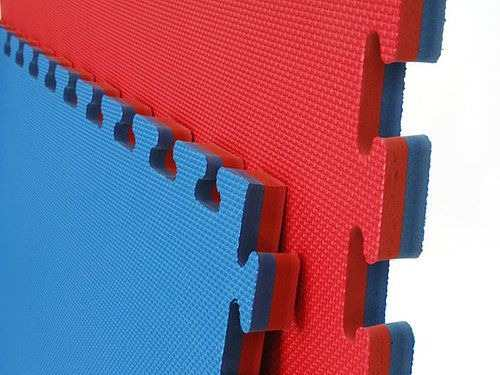 Kit 10 Tatames Tapetes EVA Dupla Face Azul e Vermelho 50x50x3cm