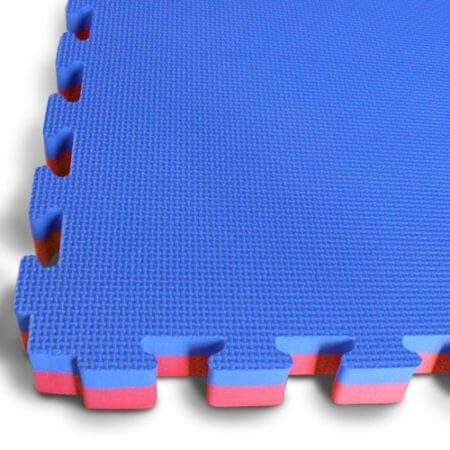 Kit 10 Tatames Tapetes EVA Dupla Face Azul e Vermelho Bicolor