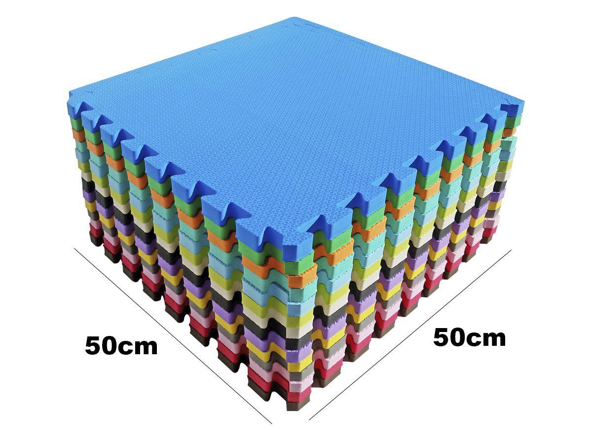 Kit 12 Tapetes Tatames Coloridos EVA 50 x 50 x 2cm com Borda