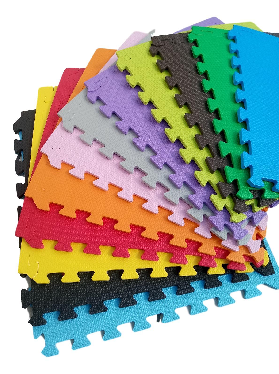 Kit 14 Tapetes Tatames Coloridos EVA 50 x 50 x 2cm com Borda