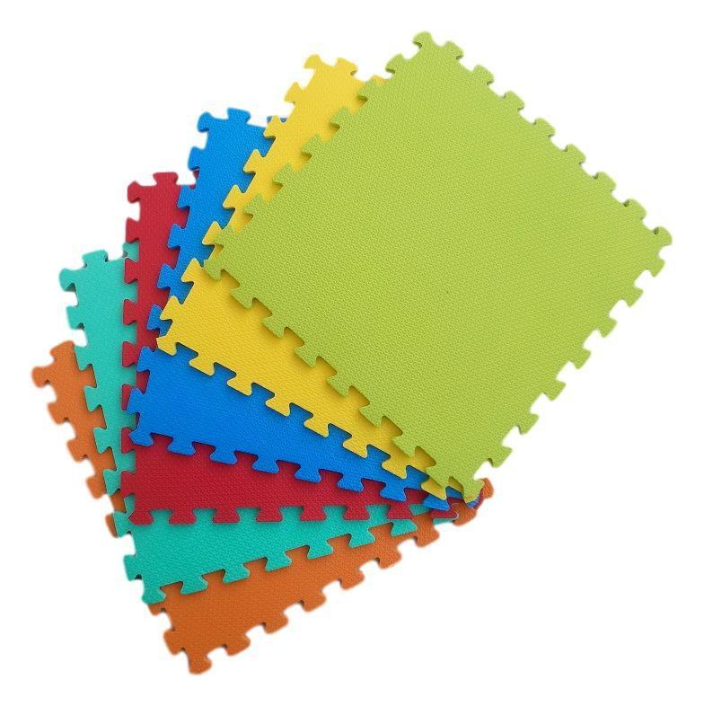 Kit 16 Tapetes Tatames Coloridos EVA 50 x 50 x 1cm 10mm com Borda