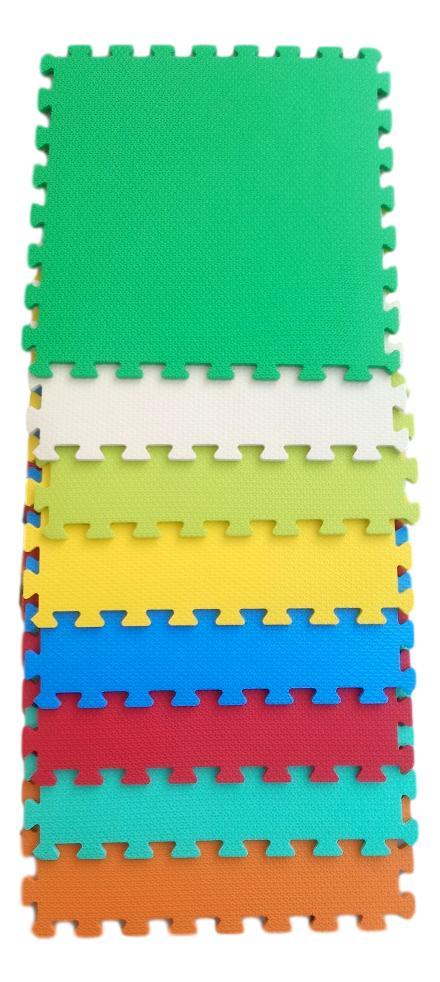 Kit 4 Tapetes Tatames Coloridos EVA 50 x 50 x 2cm com Borda