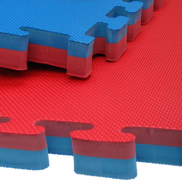 Kit 8 Tatames Tapetes EVA Dupla Face Azul e Vermelho Bicolor