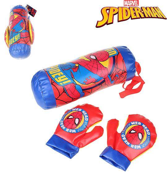 Kit Boxe Infantil com Luvas e Saco de Pancadas Homem Aranha