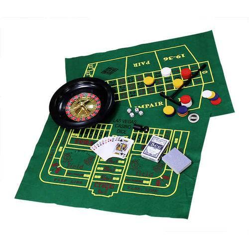 Kit com 5 Jogos Roleta Poker Cartas Dados Blackjack